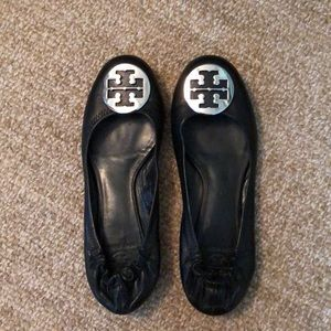 Tory Burch Reva Flat Black with Silver Buckle